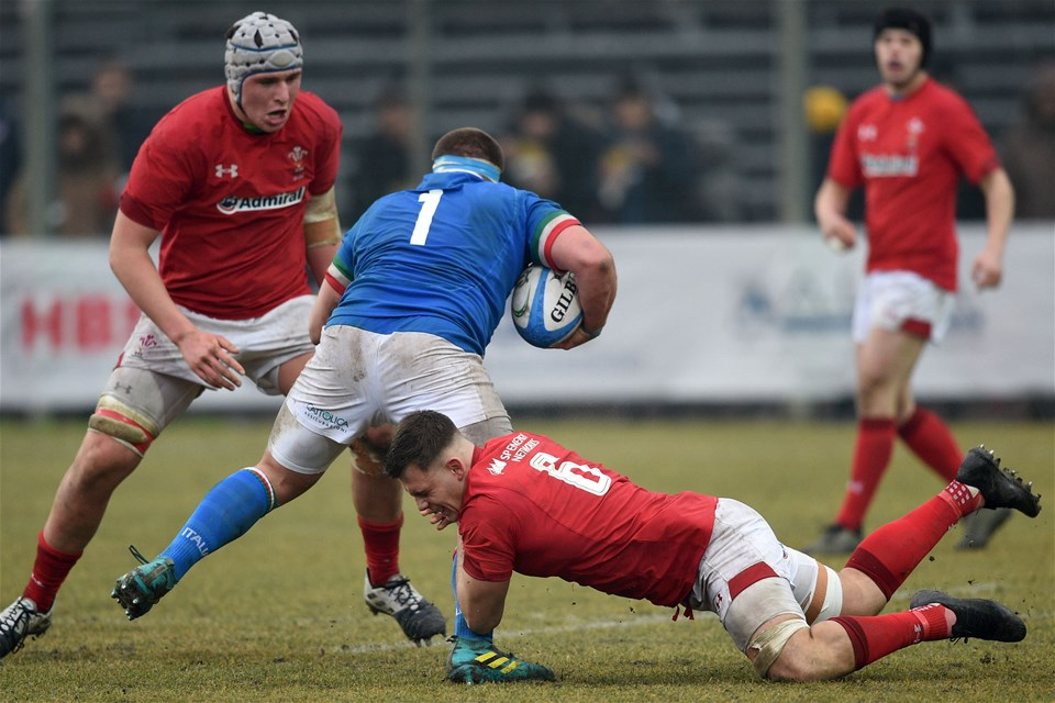 10.02.19 - Italy v Wales - Guinness U20 Six Nations - Lennon Greggains tackles Matteo Drudi