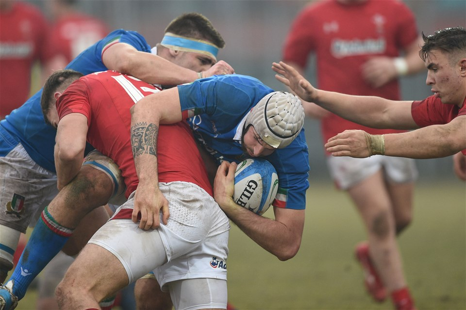 10.02.19 - Italy v Wales - Guinness U20 Six Nations - Max Llewellyn tackles