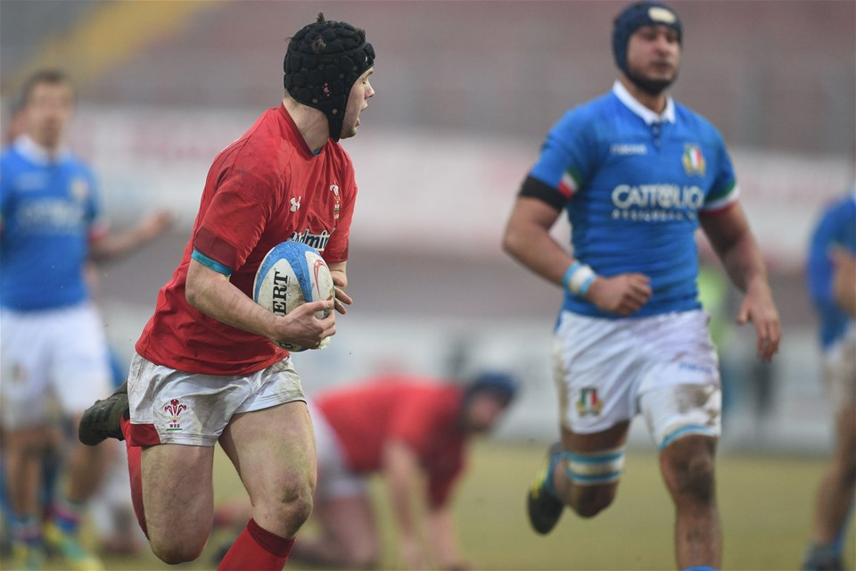 10.02.19 - Italy v Wales - Guinness U20 Six Nations - Ioan Davies scores a try