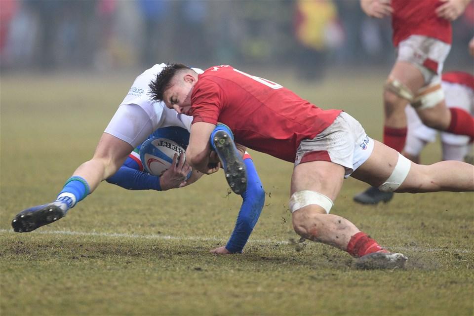 10.02.19 - Italy v Wales - Guinness U20 Six Nations - Taine Basham tackles