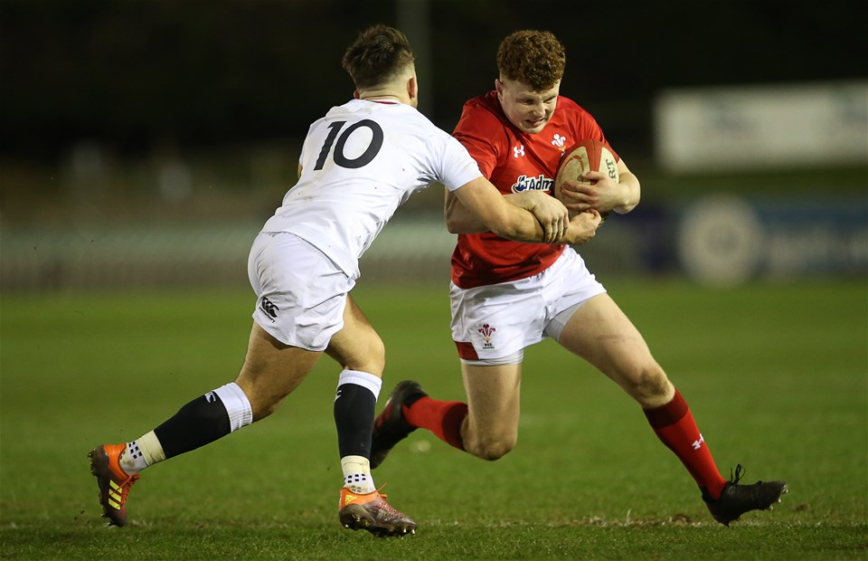 22.02.19 - Wales U20s v England U20s - U20s 6 Nations Championship - Aneurin Owen of Wales is tackled by Kieran Wilkinson of England.