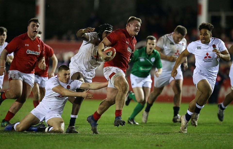22.02.19 - Wales U20s v England U20s - U20s 6 Nations Championship - Dewi Lake of Wales gets past Joel Kpoku of England.