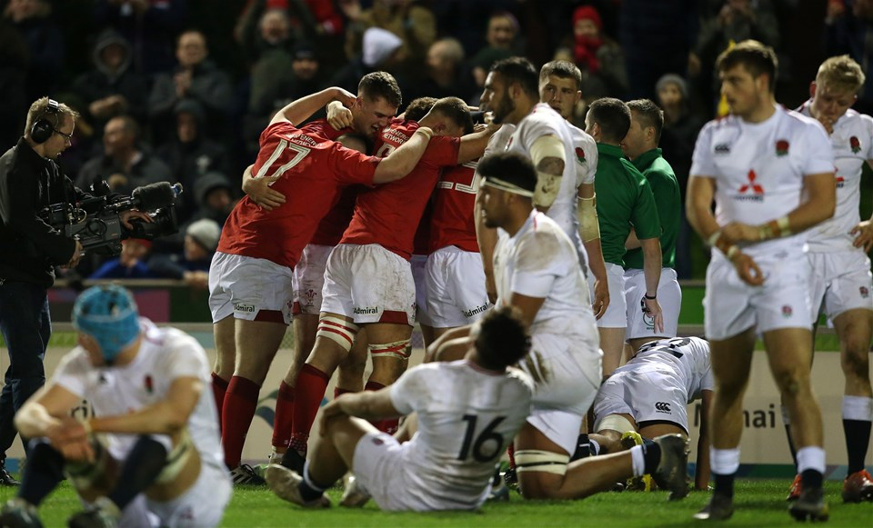 22.02.19 - Wales U20s v England U20s - U20s 6 Nations Championship - Wales celebrate winning the game in the dying seconds of the game.