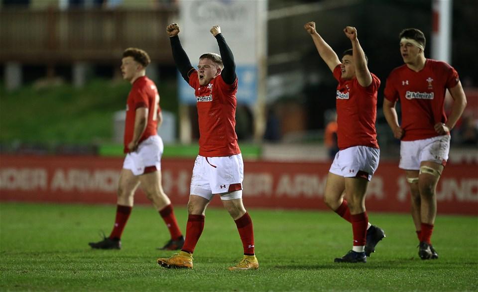 22.02.19 - Wales U20s v England U20s - U20s 6 Nations Championship - Dan Babos of Wales celebrates.