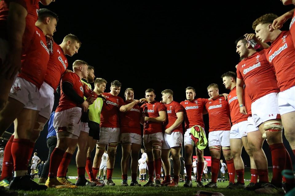 22.02.19 - Wales U20s v England U20s - U20s 6 Nations Championship - Wales team huddle at full time.