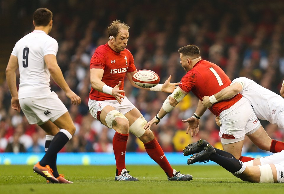 23.02.19 - Wales v England, Guinness Six Nations - Rob Evans of Wales off loads to Alun Wyn Jones of Wales