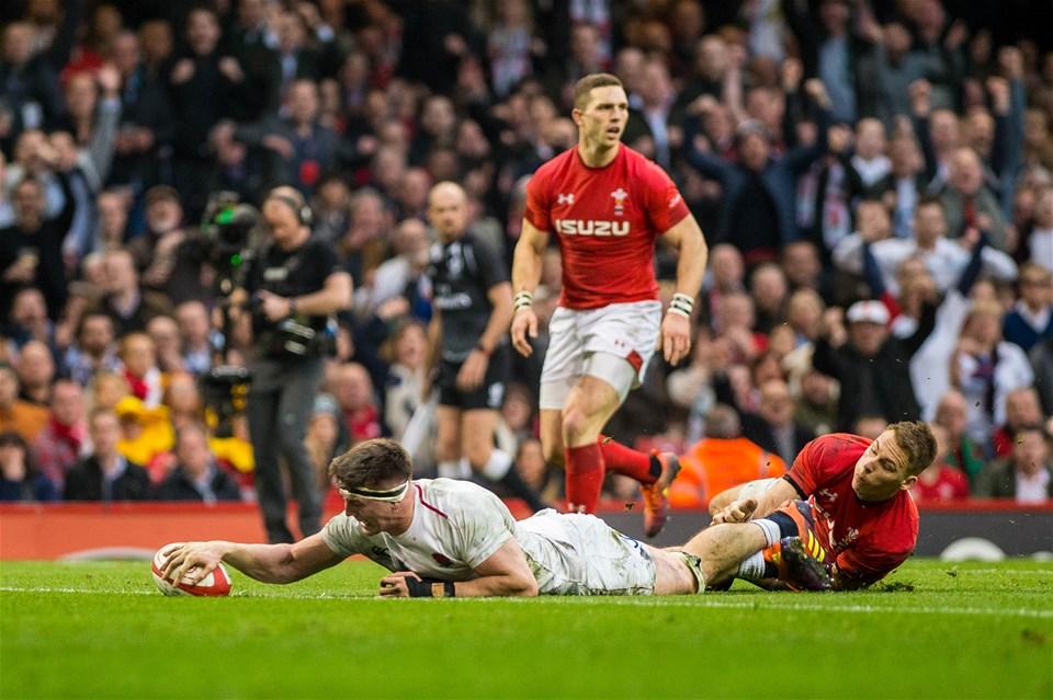 23.02.19 - Wales v England, Guinnes Six Nations  - Tom Curry of England scores for England