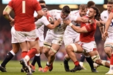 23.02.19 - Wales v England - Guinness Six Nations - Tom Curry of England  is tackled by Josh Navidi of Wales