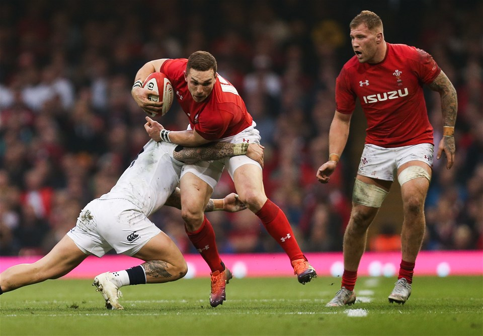 23.02.19 - Wales v England, Guinness Six Nations - George North of Wales is tackled by Jack Nowell of England