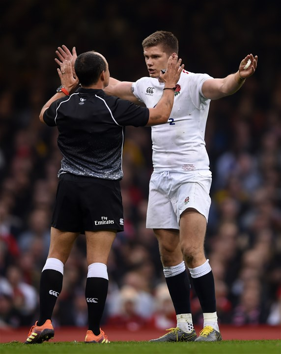 23.02.19 - Wales v England - Guinness Six Nations Championship - Owen Farrell of England talks to Referee Jaco Peyper