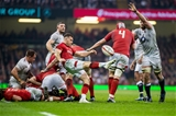 23.02.19 - Wales v England, Guinnes Six Nations  - Gareth Davies of Wales Kicks the ball forwards