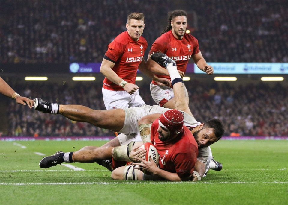 23.02.19 - Wales v England, Guinness Six Nations - Cory Hill of Wales powers over to score try