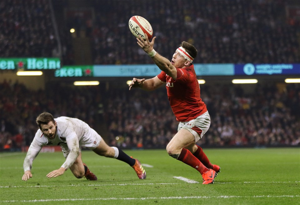 23.02.19 - Wales v England, Guinness Six Nations - Josh Adams of Wales take the ball and powers over to score try