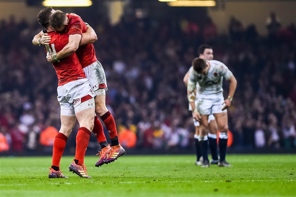 23.02.19 - Wales v England, Guinness Six Nations  - George North of Wales and Liam Williams of Wales celebrate victory