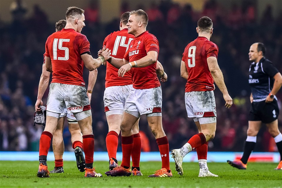 23.02.19 - Wales v England, Guinness Six Nations  - Liam Williams of Wales and Gareth Anscombe of Wales celebrate victory