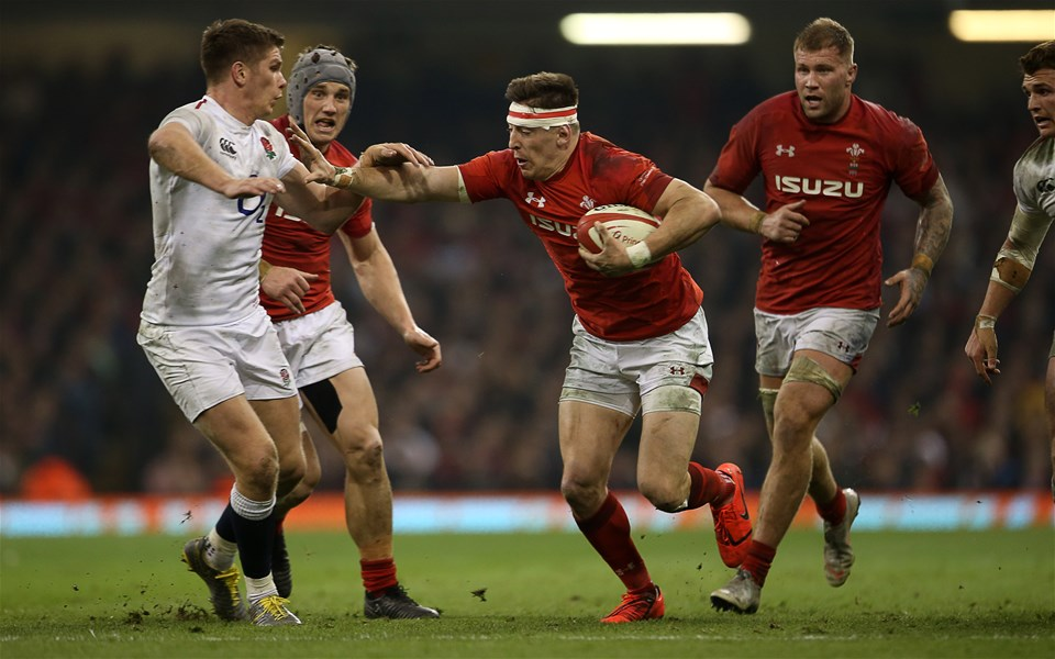 23.02.19 - Wales v England - Guinness 6 Nations Championship - Josh Adams of Wales is tackled by Owen Farrell of England.