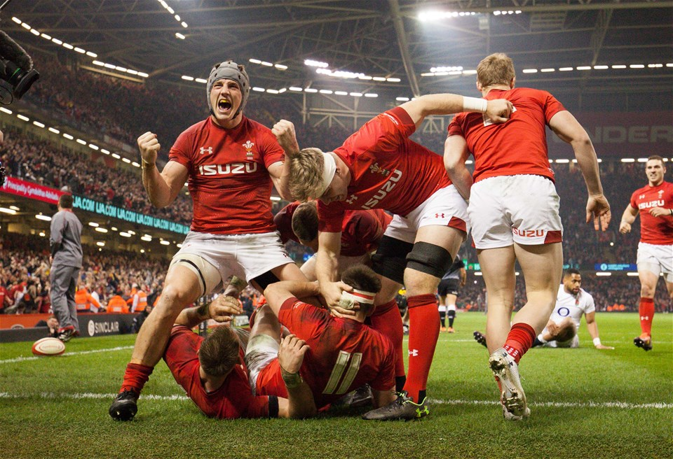 23.02.19 - Wales v England, Guinness Six Nations - Jonathan Davies of Wales leads the celebrations after Josh Adams of Wales scores try