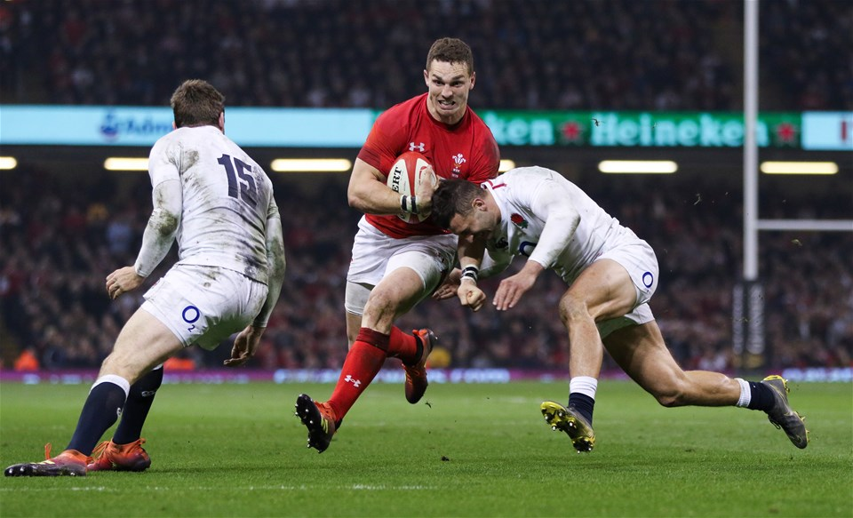 23.02.19 - Wales v England, Guinness Six Nations - George North of Wales charges forward