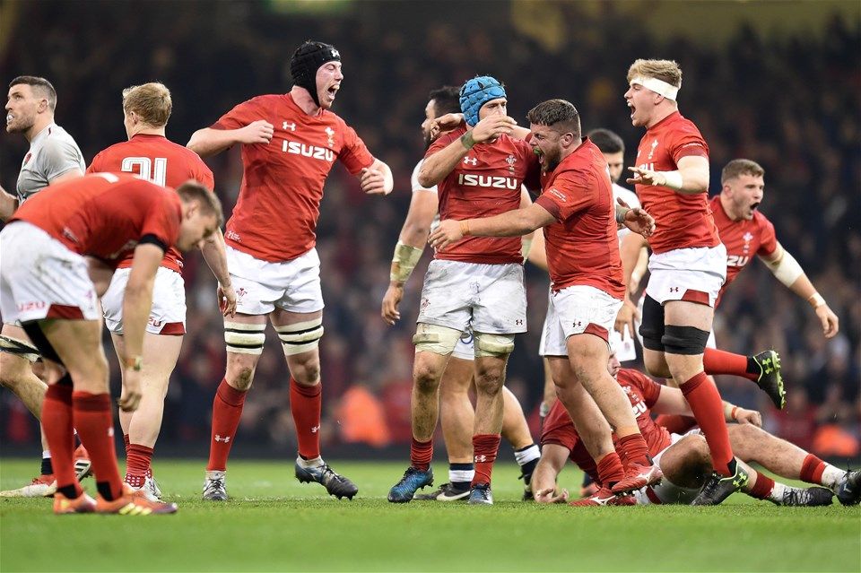 23.02.19 - Wales v England - Guinness Six Nations - Wales players celebrate their win