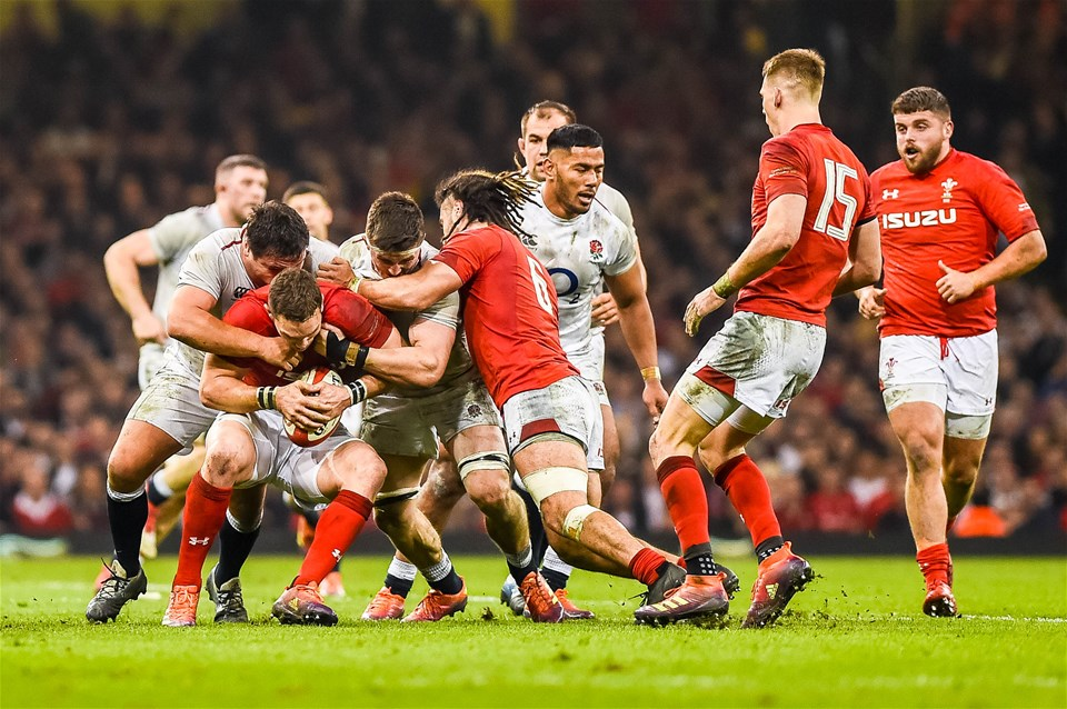 23.02.19 - Wales v England, Guinness Six Nations  - George North of Wales tries to hold on to the ball