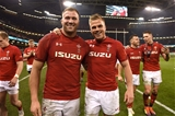 23.02.19 - Wales v England - Guinness Six Nations -Ross Moriarty and Gareth Anscombe of Wales celebrate win at the end of the game.