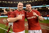 23.02.19 - Wales v England - Guinness Six Nations -Ken Owens and Rob Evans of Wales celebrate win at the end of the game.