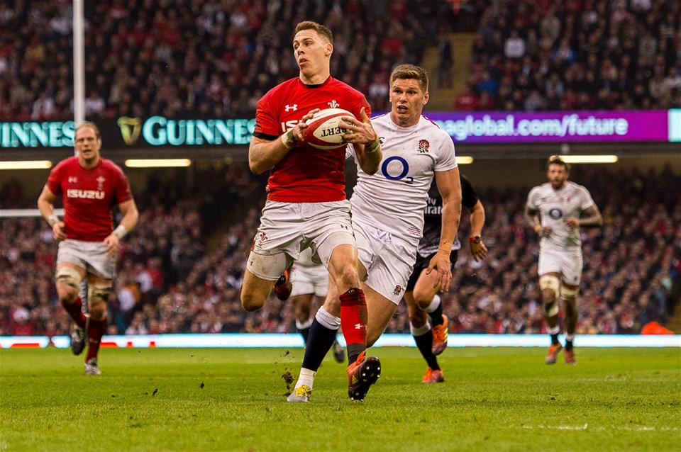 23.02.19 - Wales v England, Guinness Six Nations  - Liam Williams of Wales picks up the loose ball