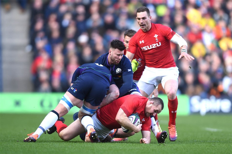 09.03.19 - Scotland v Wales - Guinness Six Nations -Ken Owens of Wales is tackled by Magnus Bradbury of Scotland.