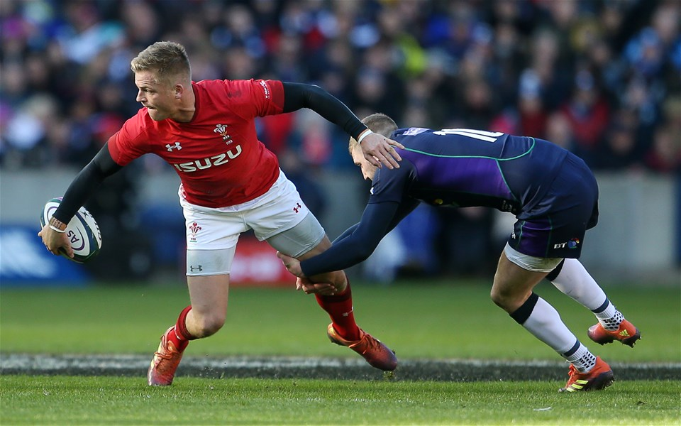 09.03.19 - Scotland v Wales - Guinness 6 Nations - Gareth Anscombe of Wales is tackled by Finn Russell of Scotland.