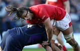 09.03.19 - Scotland v Wales - Guinness 6 Nations - Josh Navidi of Wales is tackled by Grant Gilchrist of Scotland.