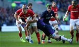 09.03.19 - Scotland v Wales - Guinness 6 Nations - Hadleigh Parkes of Wales is tackled by Jonny Gray of Scotland.