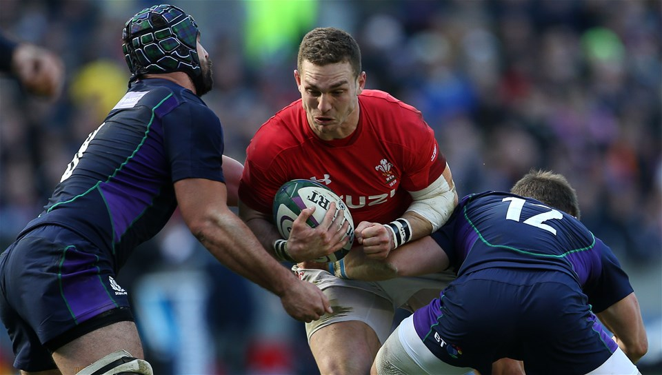 09.03.19 - Scotland v Wales - Guinness 6 Nations - George North of Wales is tackled by Jonny Gray and Pete Horne of Scotland.