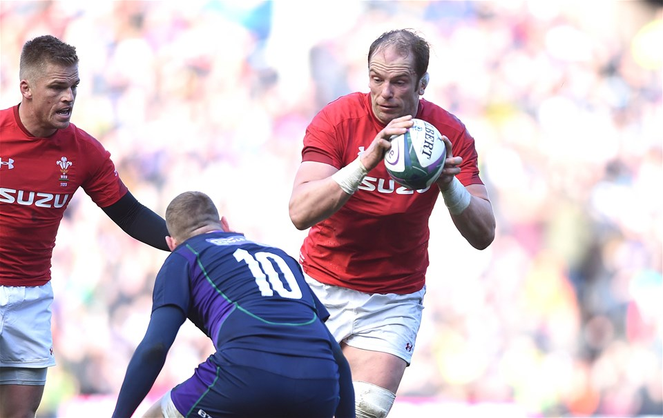 09.03.19 - Scotland v Wales - Guinness Six Nations -Alun Wyn Jones of Wales is tackled by Finn Russell of Scotland.