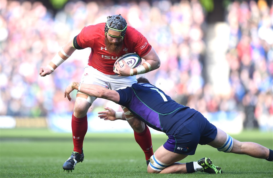 09.03.19 - Scotland v Wales - Guinness Six Nations -Jake Ball of Wales is tackled by Jamie Ritchie of Scotland.
