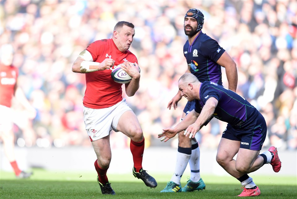 09.03.19 - Scotland v Wales - Guinness Six Nations -Hadleigh Parkes of Wales is tackled by Byron McGuigan of Scotland.
