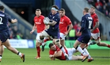 09.03.19 - Scotland v Wales - Guinness 6 Nations - Hamish Watson of Scotland smashes past Dillon Lewis of Wales.