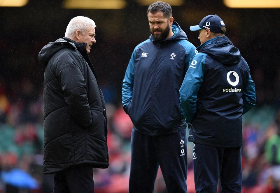 16.03.19 - Wales v Ireland - Guinness Six Nations - Wales head coach Warren Gatland, Ireland defence coach Andy Farrell and Ireland head coach Joe Schmidt