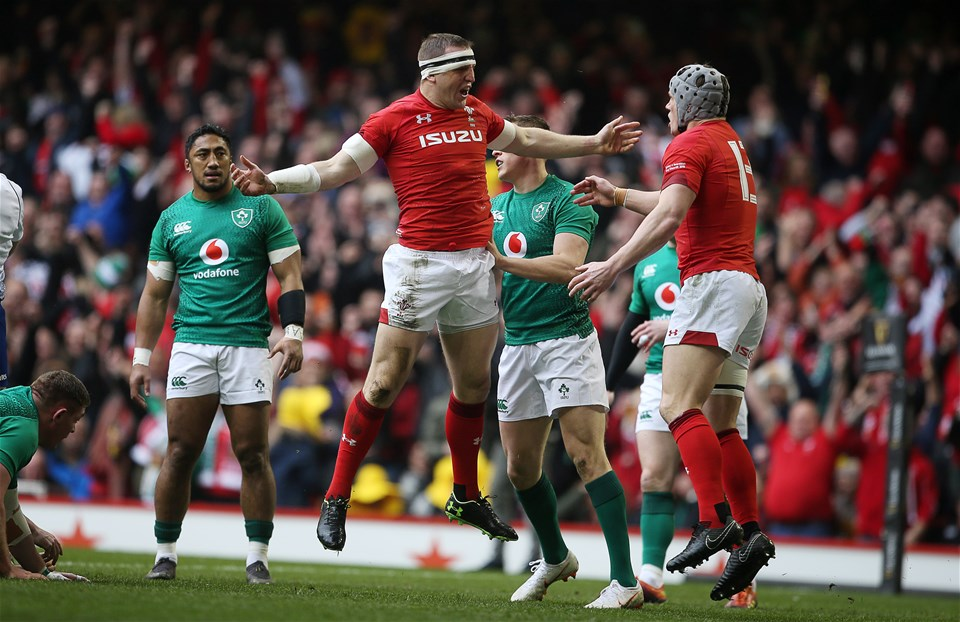 16.03.19 - Wales v Ireland - Guinness 6 Nations Championship - Hadleigh Parkes celebrates scoring a try with Jonathan Davies of Wales.