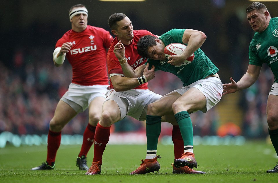 16.03.19 - Wales v Ireland - Guinness 6 Nations Championship - George North of Wales pulls Jacob Stockdale of Ireland into touch.