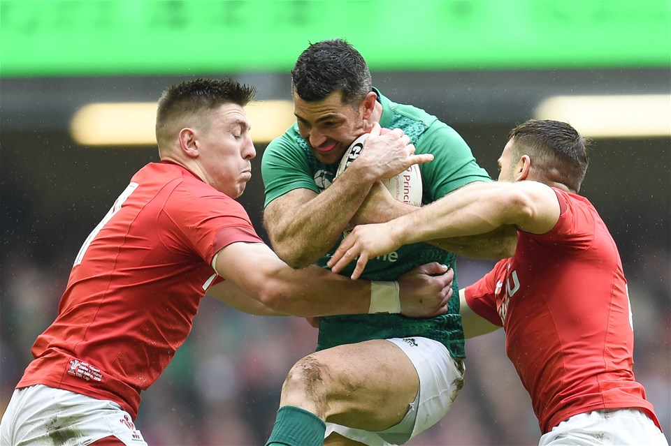 16.03.19 - Wales v Ireland - Guinness Six Nations - Rob Kearney of Ireland is tackled by Josh Adams of Wales  and Gareth Davies of Wales