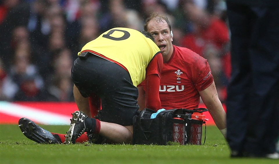 16.03.19 - Wales v Ireland - Guinness 6 Nations Championship - Alun Wyn Jones of Wales is seen to by medics.