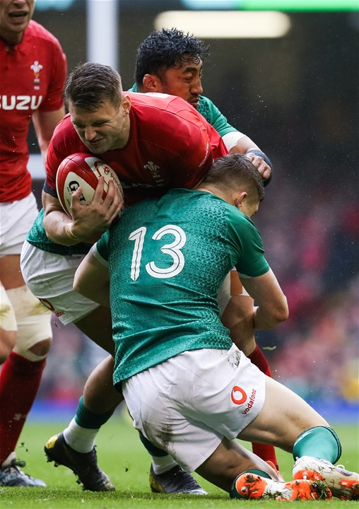 16.03.19 - Wales v Ireland, Guinness Six Nations Championship 2019 - Dan Biggar of Wales is tackled by Bundee Aki of Ireland and Garry Ringrose of Ireland
