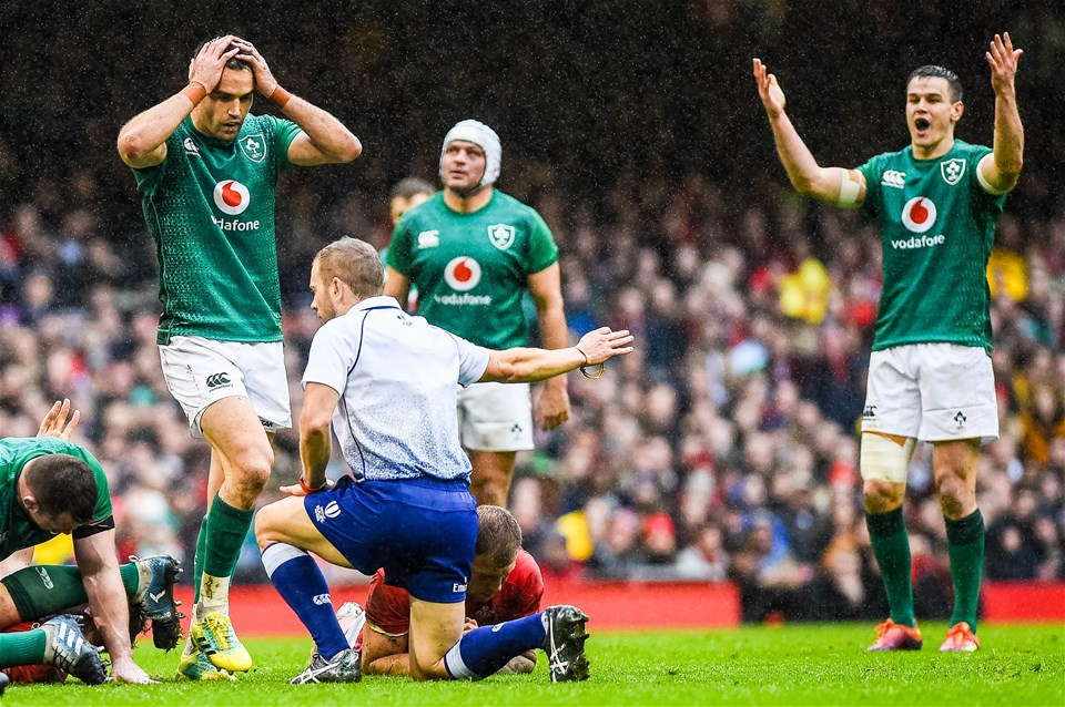 16.03.19 - Wales v Ireland - Guinness Six Nations - Ireland react during the game