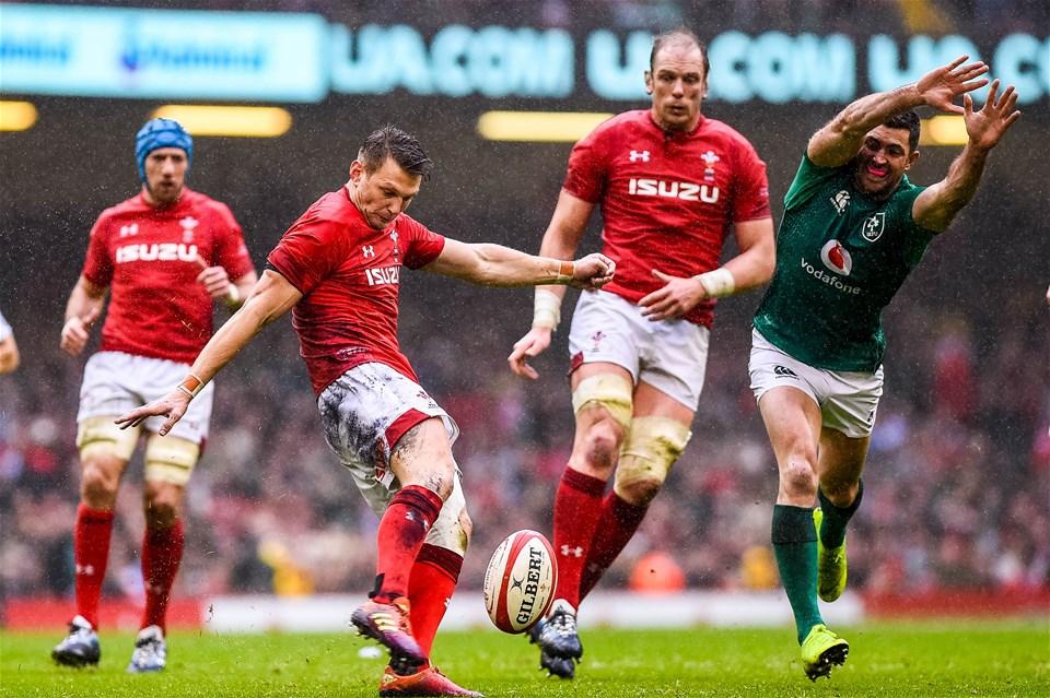 16.03.19 - Wales v Ireland - Guinness Six Nations - Dan Biggar of Wales kicks the ball out