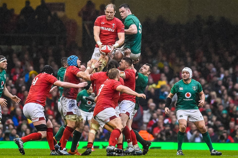 16.03.19 - Wales v Ireland - Guinness Six Nations - Alun Wyn Jones of Wales jumps for the ball