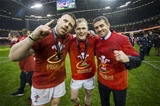 16.03.19 - Wales v Ireland - Guinness 6 Nations Championship - Rob Evans, Aled Davies and Leigh Halfpenny.