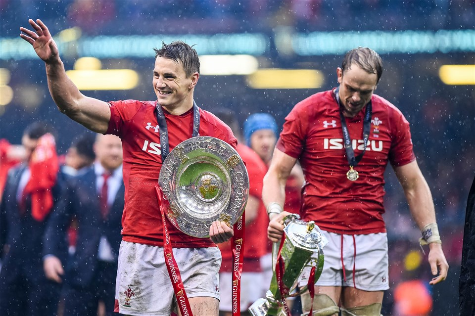 16.03.19 - Wales v Ireland - Guinness Six Nations - (L-R) Jonathan Davies of Wales and Alun Wyn Jones of Wales after the game