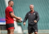 10.08.19 - Wales Rugby Training -Hadleigh Parkes and Rob Howley during training.