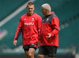 10.08.19 - Wales Rugby Training -Jonathan Davies and Warren Gatland during training.