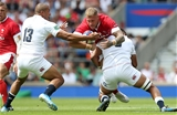 11.08.19 - England v Wales - World Cup Warm Up - Quilter International - Ross Moriarty of Wales is tackled by Tom Curry of England.